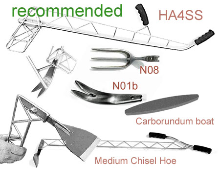 HA4SS full-size Lazy Dog Frame with NO1b and NO8 noses, and Medium Chisel Hoe and Carborundum Boat